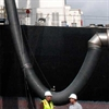 Ship engine exhaust gas fume venting hose